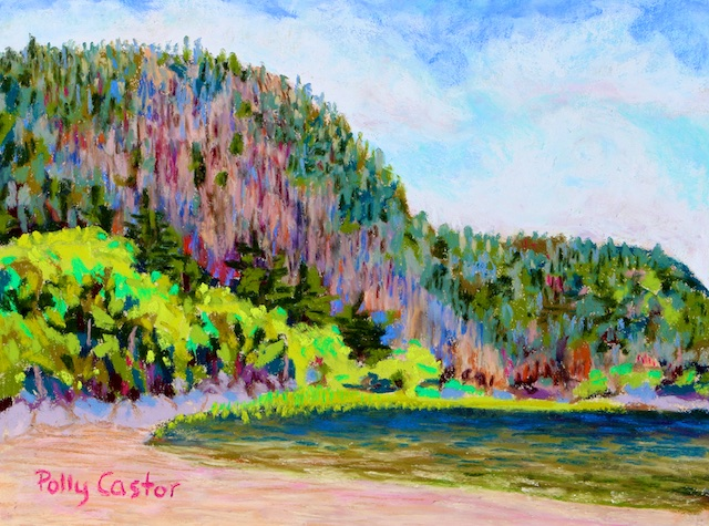 Echo Lake Beach, Acadia (pastel) by Polly Castor