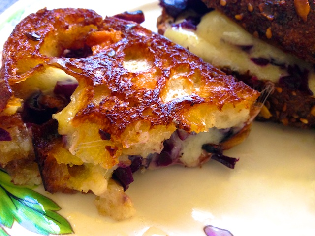 Exotic grilled cheese, grilled cheese with red raspberry cabbage