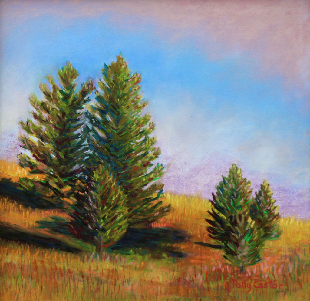 Evening Sun in Yellowstone (pastel) by Polly Castor