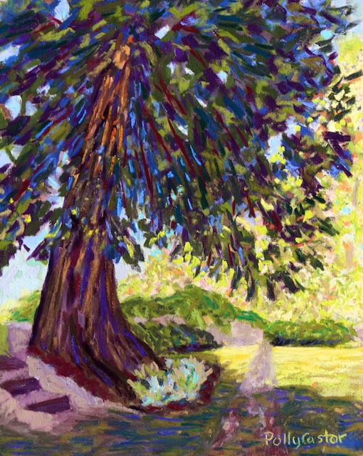Deep Shade in the Sunken Garden (pastel) by Polly Castor