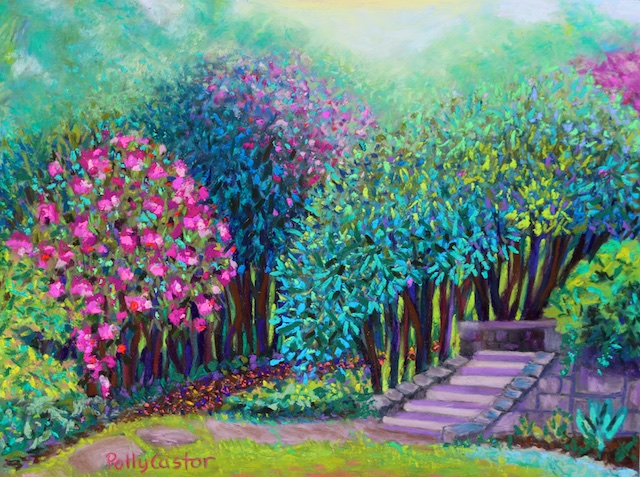 Rhododendrons in the Sunken Garden (pastel) by Polly Castor