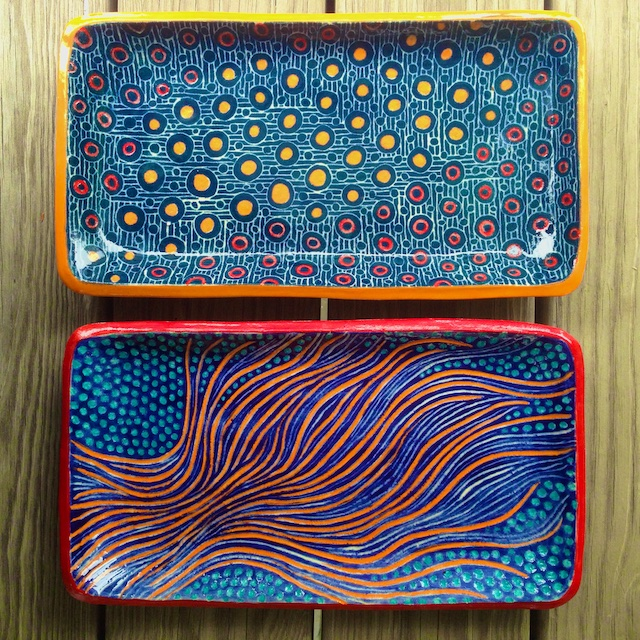 Two Oblong Ceramic Plates I Made