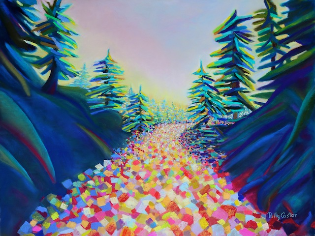 Walking in the Light (abstract landscape pastel) by Polly Castor