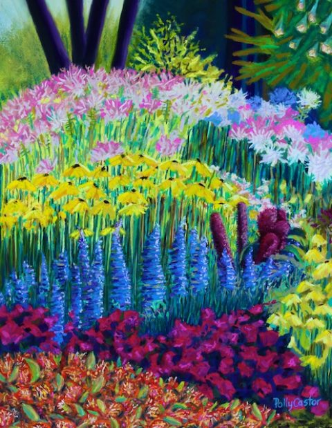 Amaranth in the Gardens at Hollandia (pastel) by Polly Castor