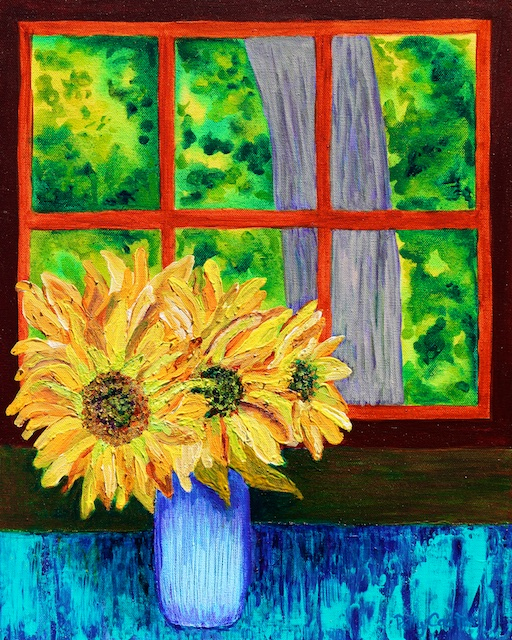 Cabin Sunflowers (acrylic) by Polly Castor