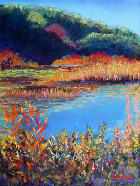 Simpaug Pond in October (pastel) by Polly Castor