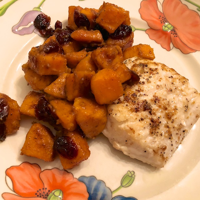 Cider Glazed Sweet Potatoes with Cranberries (Recipe)