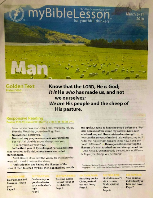 Two Lists from Reading the Bible Lesson on Man