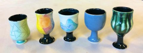 Yesterday, I drove our daughter back to school after spring break, and got to see the beginnings of the goblet and tumbler series she is working on in the ceramic's studio.