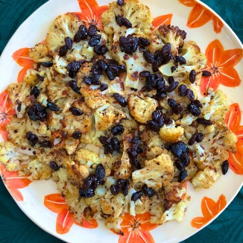 Roasted Cauliflower with Balsamic Raisins (Recipe)