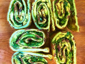 Egg Roll-ups with Bacon, Avocado, and Herbs (Recipe)