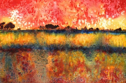Prairie Thunderstorm (watercolor) by Polly Castor