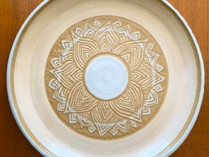 Two New Sgraffito Pottery Plates out of the Kiln
