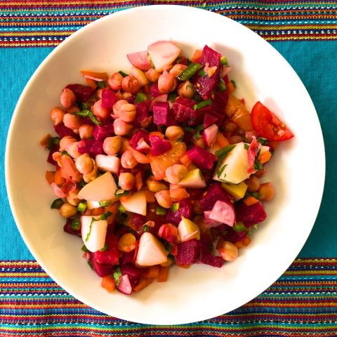 Colorful chickpea vegan salad recipe