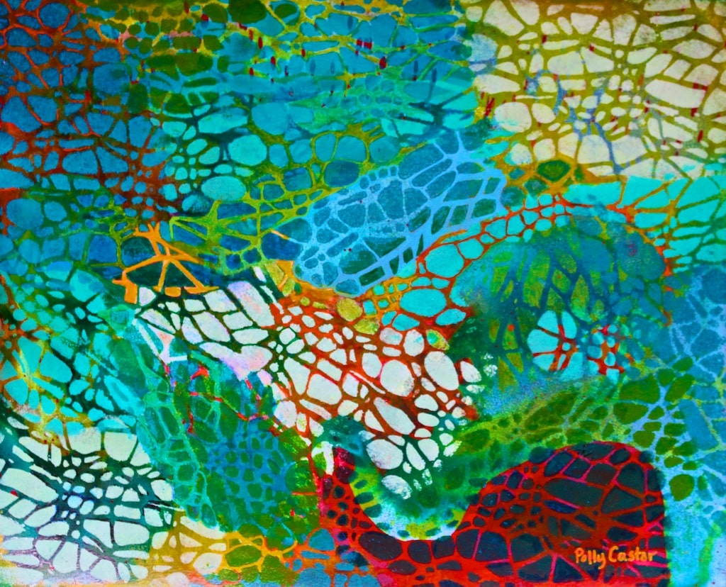 Xylem (monoprint in acrylic and ink) by Polly Castor