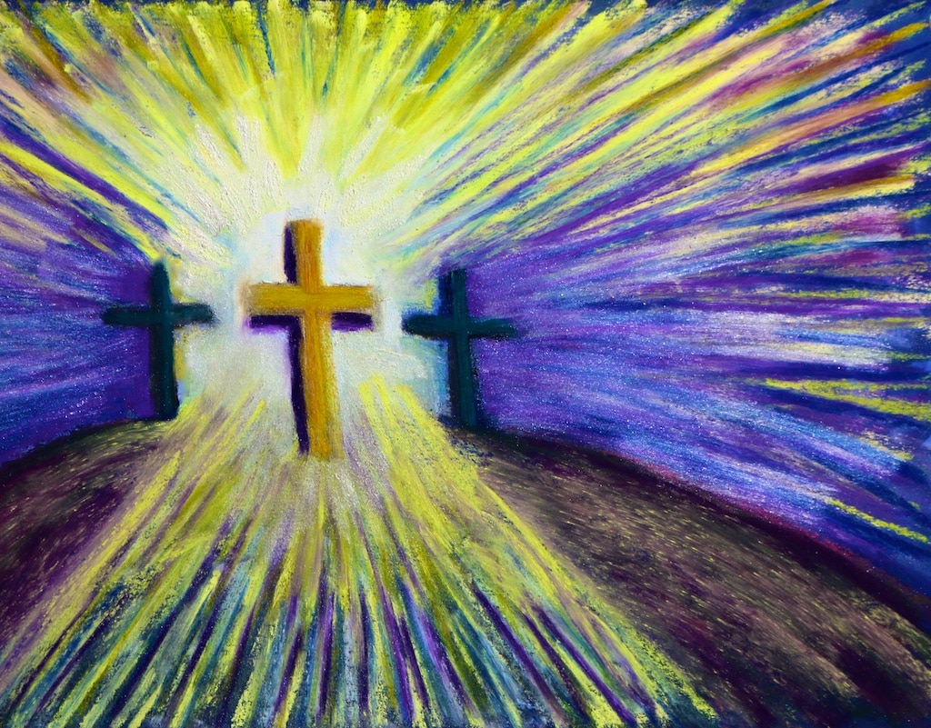 Calvary (pastel) by Polly Castor