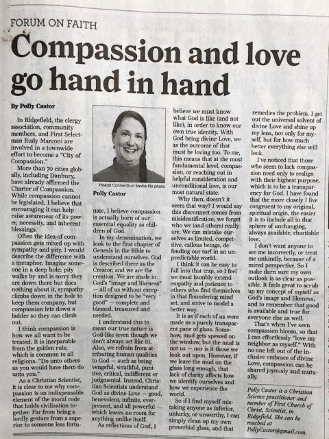 Newspaper Article on Compassion by Polly Castor