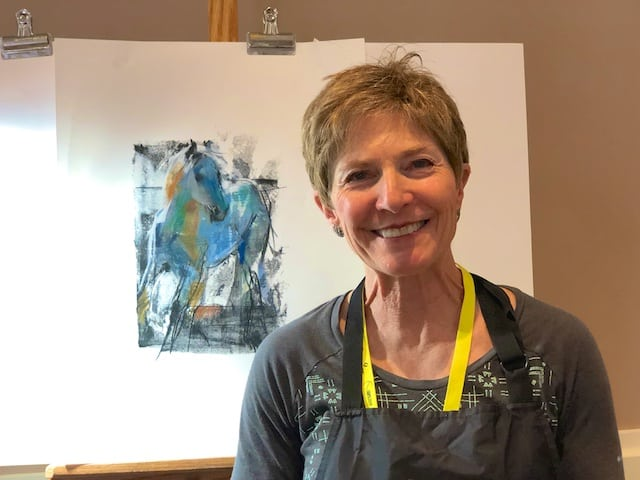 Dawn Emerson workshop monotype with pastel