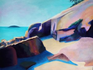 Rocks at Sand Beach, Acadia (Large Pastel Landscape Painting)