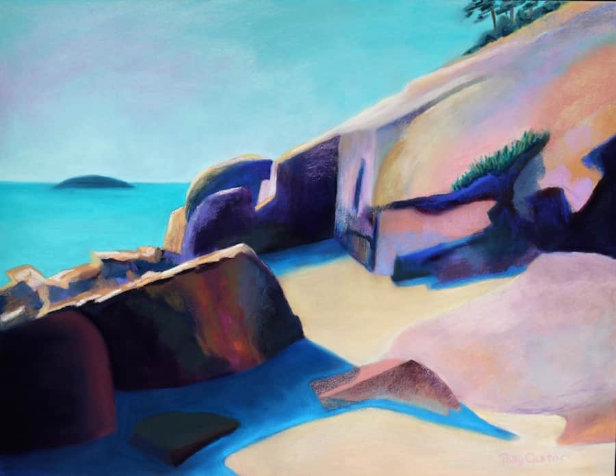 Rocks at Sand Beach, Acadia (pastel) by Polly Castor