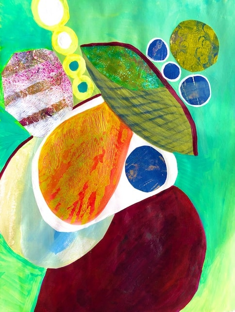 Juggling Stability (acrylic monoprint collage) by Polly Castor