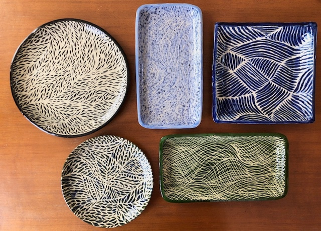 Polly Castor sgraffito pottery available