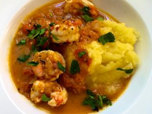 Spicy Shrimp on Mashed Potatoes (Recipe)