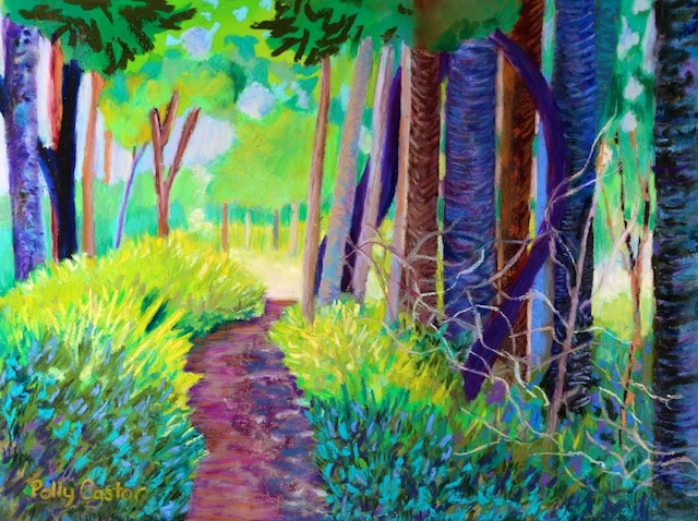 Path on Green Point (pastel) by Polly Castor