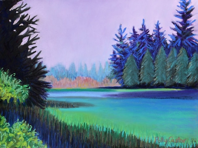 Lavender Dawn of Schoodic Peninsula (pastel) by Polly Castor