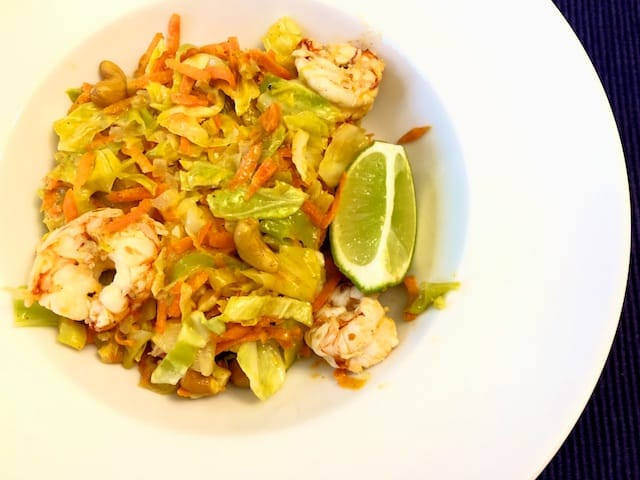 Shrimp cabbage Pad Thai recipe