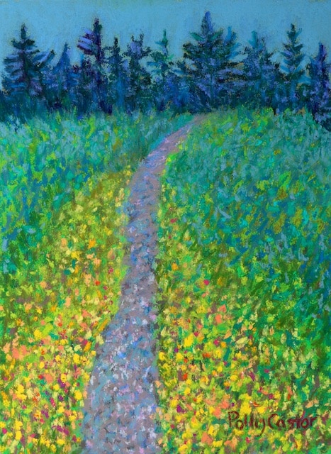 On The Trail to Baker's Falls (pastel) by Polly Castor