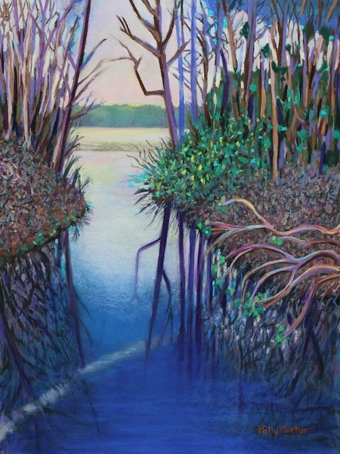 Springtime Blues (pastel) by Polly Castor