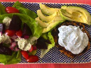 Sweet Potato Bean Burgers with Yogurt Sauce (Recipe)