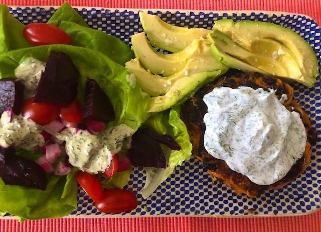 Sweet Potato Bean Burgers with Yogurt sauce Recipe