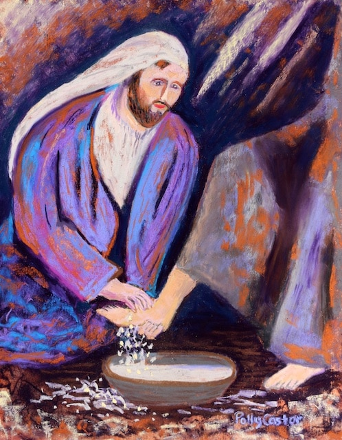 The Calm Before the storm, new painting of Jesus washing feet