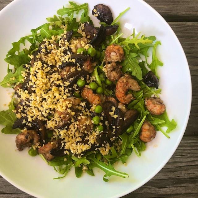 Warm Mushroom Salad with Fresh Peas and Pine Nut Parmesan recipe