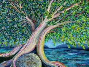 Tree of Life (New Large Conceptual Landscape Painting in Oil)