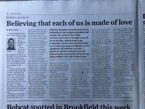 My Forum on Faith Article In Three CT Newspapers Today