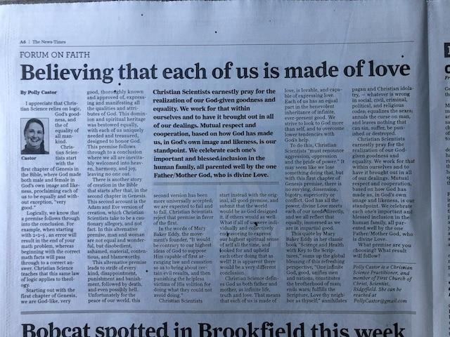 Polly Castor Forum on Faith newspaper article