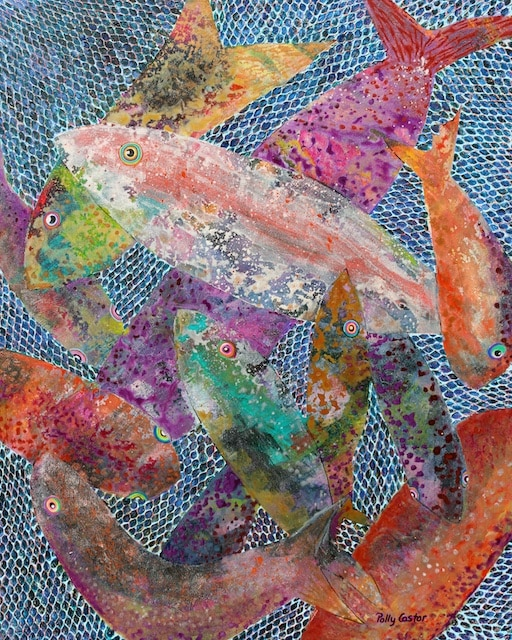 Cast Your Net on the Right Side (mixed media) by Polly Castor, Cast your net painting, fish painting, fish in a net painting