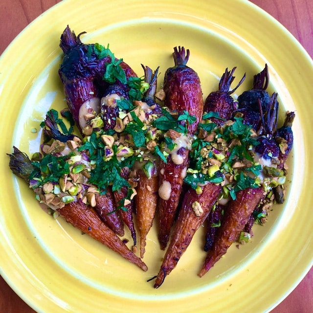 Roasted Carrots with Tahini, Pistachios, and Mint (Recipe)