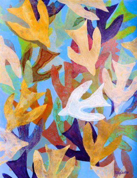 Spirit Descending Like Dove monoprint by Polly Castor