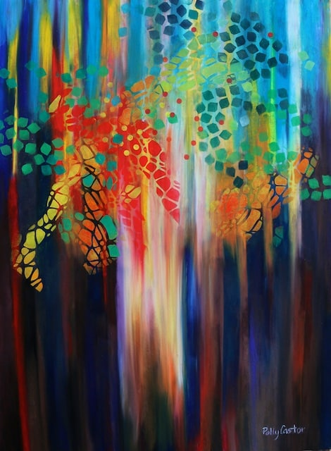 abstract fall forest painting