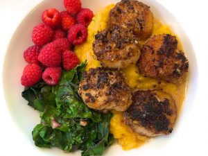 Walnut Crusted Scallops with Butternut Puree (Recipe)