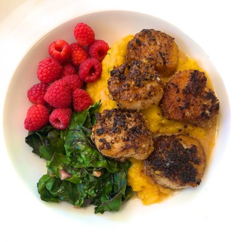 Walnut Crusted Scallops with Butternut Puree Recipe