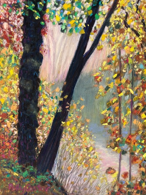 Fall in Rain (pastel) by Polly Castor