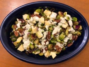 Brussels Sprout Salad with Hemp Heart Dressing (Recipe)