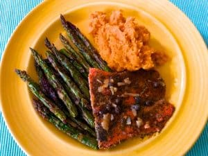 Salmon Piccata with Cinnamon Sweet Potato Mash (Recipe)