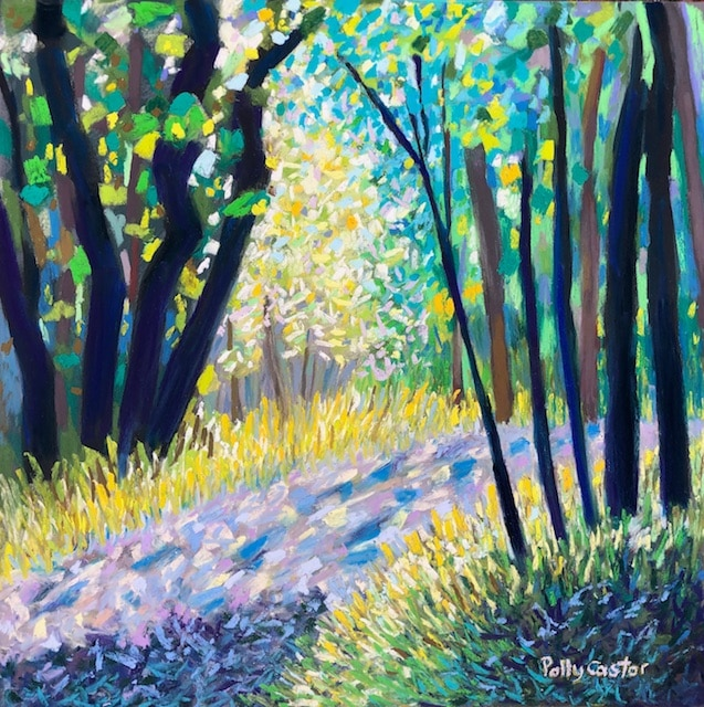 Woodland Light in July (pastel) by Polly Castor