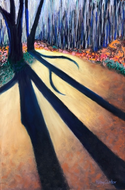 Stark November Shadows (pastel) by Polly Castor